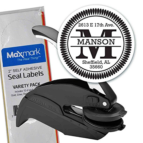 Custom Monogram Address Embosser - Personalized Round Seal with 50 Seal labels - Style EM002 (Embossed Labels)