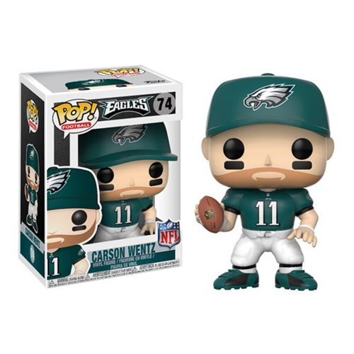 Wave 4 Action Figure Case - NFL Carson Wentz Eagles Home Wave 4 Pop! Vinyl Figure and (Bundled with Pop BOX PROTECTOR CASE)
