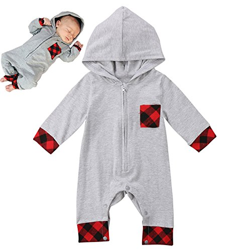 Baby Boy Girls Romper Hoodies Check Jumpsuit Baby Kids Boy Romper Winter Clothes (Grey, 90(6-12 months))