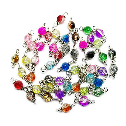 Beading Station 50-Piece Handcrafted Crackle Glass Beads Links with Silver Wire and Daisy for Jewelry Making