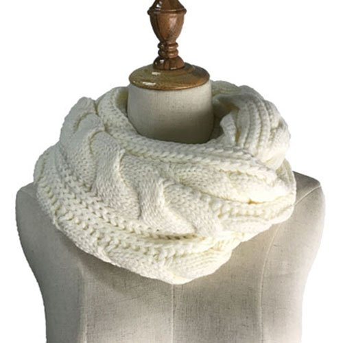 Ribbed Cashmere Scarf (Womens Soft Thick Ribbed Knit Winter Infinity Circle Loop Scarf)