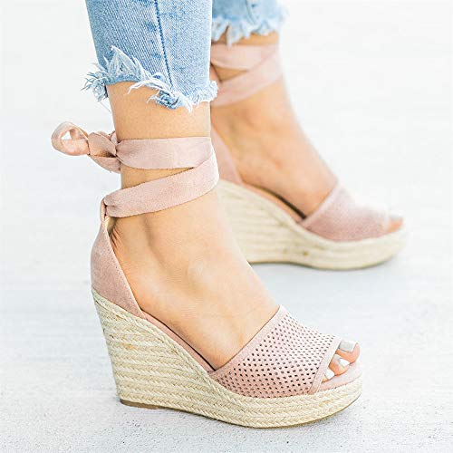 7e8cfb6bd30 Liyuandian Womens Platform Espadrille Wedges Open Toe High Heel Sandals  with Ankle Strap Buckle Up Shoes (5 M US, E Pink)