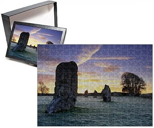 Photo Jigsaw Puzzle of Prehistoric stone circle in frost, Avebury, UNESCO World Heritage Site - Avebury Stone Circle