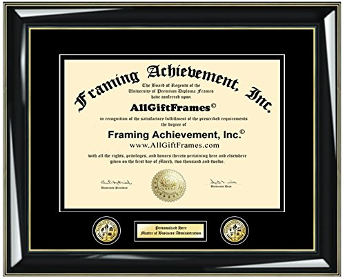Personalized Engraved Certificate Frame Diploma Frames Double Logo Insignia University Framing Glossy Majestic Black Gold Accents Graduation Gift College Degree Frame Double matted by Framing Achievement Inc University Diploma Frame (Image #5)