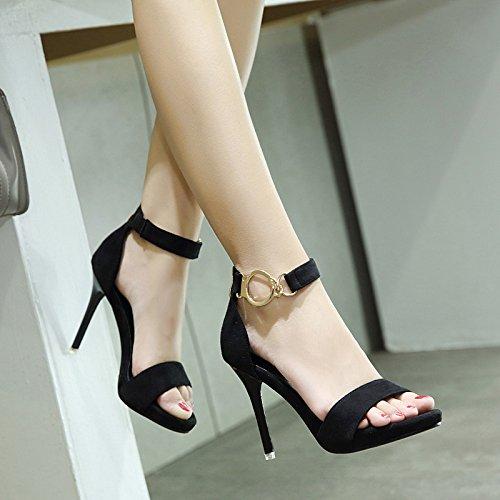 Zapatos y en de de Treinta Cinco Sandalia Alto una una Palabra Moda Negro Tanga Tacón con rqrBxOnaW