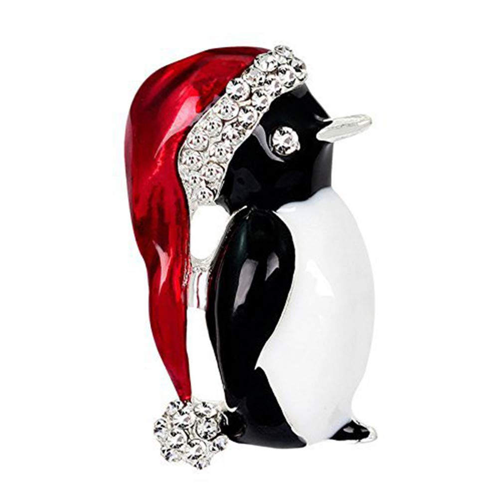 Myhouse Black Christmas Penguin Shape Brooch Pin Badge Collectable Gift for Clothes Tie Hats Caps Bags Backpacks My_house