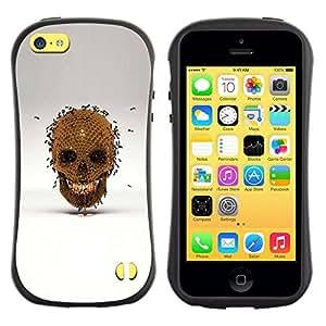 Suave TPU GEL Carcasa Funda Silicona Blando Estuche Caso de protección (para) Apple Iphone 5C / CECELL Phone case / / Honey Bee Gold Skull Bronze Grey /