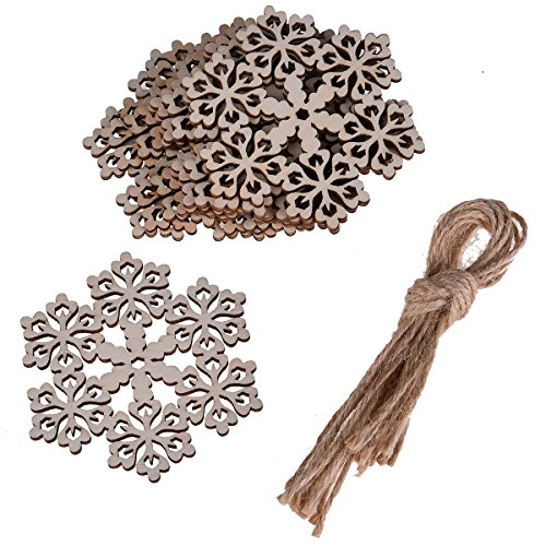 (Hophen Wooden Laser Cut Hexagon Snowflake with Hemp Rope Rustic style Crafts Christmas Tree Hanging Ornament (20pcs, Flower))