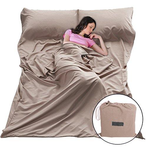 Bag Liners Sleeping Sleepsacks - Sleep Sack Sleeping Bag Liners Lightweight Portable Sleeping Sheet Dirt-Proof Compact Travel Camping Sheet for Outdoor Travel Hiking Hotels Picnics (Brown, 83x63'')