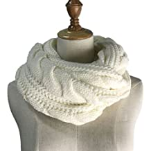 Womens Soft Thick Ribbed Knit Winter Infinity Circle Loop Scarf