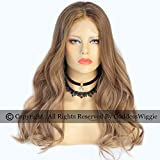 Light Brown Human Hair Body Wavy Wigs Lace Front Ombre Wigs For Black Women (18inch 150density)