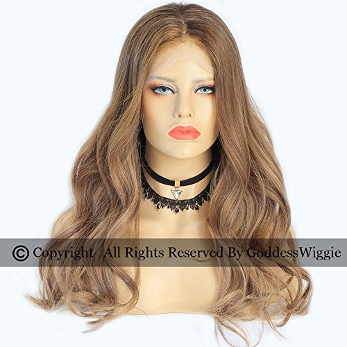 Light Brown Human Hair Body Wavy Wigs Lace Front Ombre Wigs For Black Women (18inch 150density) by Goddess