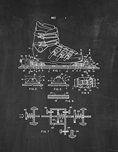 Releasable Bindings - Releasable Ski Binding Device Patent Print Chalkboard (8