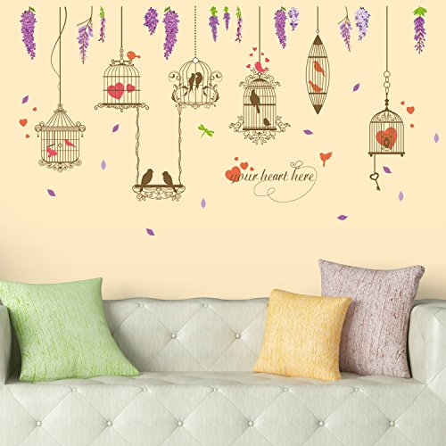 Amazon Brand – Solimo Wall Sticker for Living Room (Lovebirds, Ideal Size on Wall: 170 x 93 cm)