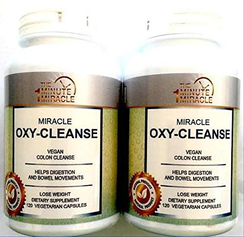 Miracle Oxy-Cleanse Vegan Colon Cleanser – 2 Bottles – 120 Vegatarian Capsules Per Bottle