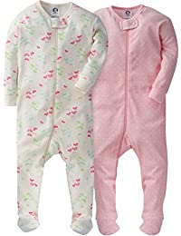 Girls Zip-Front Footed Sleeper(2-Pack)