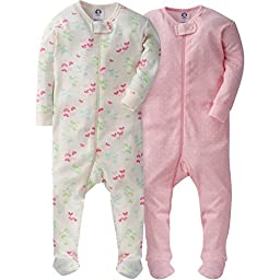 Gerber Girls\' 2 Pack Footed Sleeper, Dots/Butterflies, 3 Months