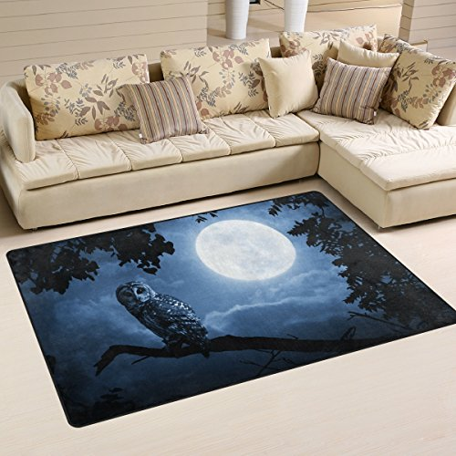 WOZO Hallloween Night Owl Full Moon Area Rug Rugs Non-Slip Floor Mat Doormats for Living Room Bedroom 60 x 39 inches