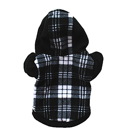 PENATE Dog Hooded Sweater Winter Warm Small Pet Apparel Mini Putty Cute Classis Plaid Hoodie Shirt Soft Fleece Jacket Knitted Elastic Coat Sweatshirt Halloween Doggy -