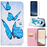 For Samsung Galaxy S8 Case with Card Slot,OYIME [Blue Butterfly] 3D Glitter Pattern Design Bookstyle Leather Wallet Holster Kickstand Function Full Body Protective Bumper Magnetic Closure Flip Cover with Wrist Lanyard and Screen Protector