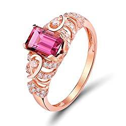 Rose Gold Pink Green Tourmaline Diamond Ring