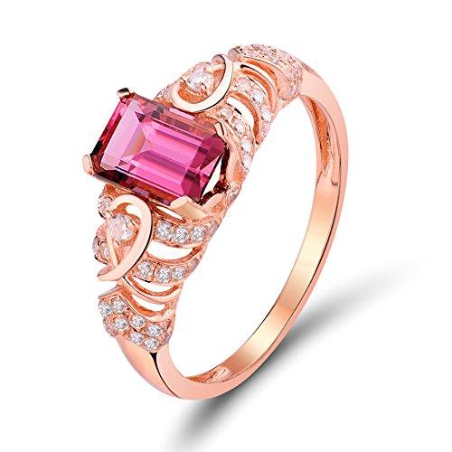 Lanmi 14Kt Rose Gold Diamonds Pink Tourmaline Engagement Vintage Beautiful Women Ring