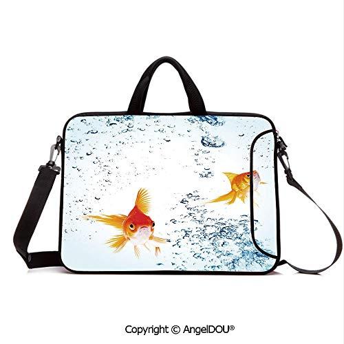 AngelDOU Laptop Sleeve Notebook Bag Case Messenger Shoulder Laptop Bag Under The Aquarium Theme Cute Swimming Goldfishes with Vivid Bubbles Image Compatible with MacBook HP Dell Lenovo Blue Orange Y
