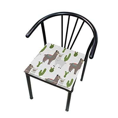 Bardic FICOO Home Patio Chair Cushion Llama Plant Cactus Square Cushion Non-Slip Memory Foam Outdoor Seat Cushion, 16x16 Inch: Home & Kitchen