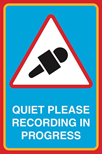 (Quiet Please Recording In Progress Print Microphone Picture Notice Studio Office Business Sign Aluminum Metal)