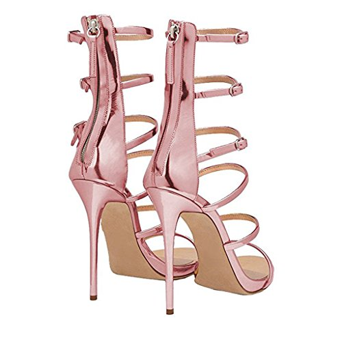 Pink Zipper Jushee Gladiator Back Heels Single High Buckle Ankle Gorgeous Sandals Dress Band Women's Shoes 44vx7q6r