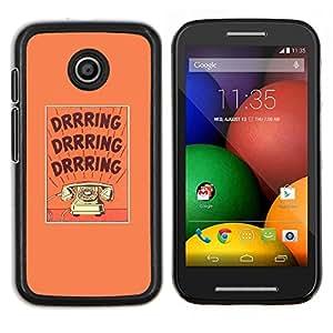 Caucho caso de Shell duro de la cubierta de accesorios de protección BY RAYDREAMMM - Motorola Moto E - timbre del teléfono retro texto texto púrpura rotatorio