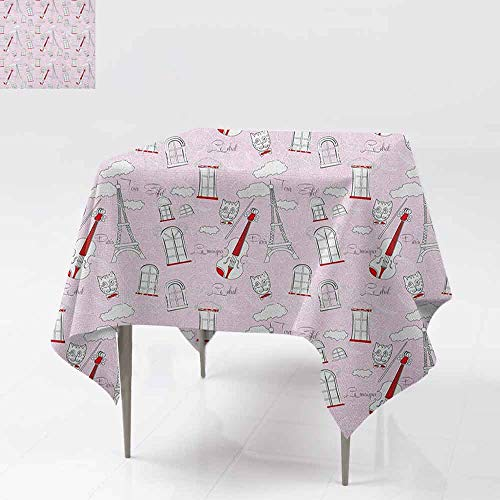 AndyTours Fashions Table Cloth,Paris,Abstract City Image Violin Cat with Bow Tie Eiffel Tower Illustration,High-end Durable Creative Home,50x50 Inch Pale Pink Scarlet White