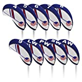 USA Flag Golf Iron Headcovers Set 10pcs Neoprene Golfer Head Covers Club Protector LOB Wedges For Callaway Cobra Ping G30 G25 Taylormade M2 M1 Titleist 718 AP1 AP2 AP3