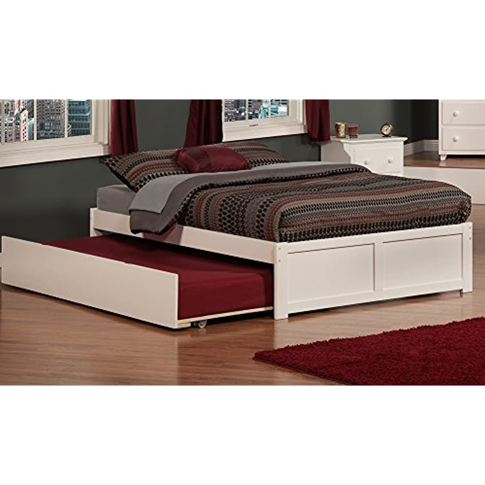 Full Size Platform Bed Frame With Twin Size Trundle Bed Upholstered