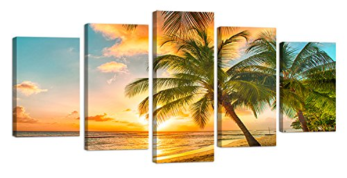 Ardemy Canvas Wall Art Tropical Island Palm Tree Sunset Landscape Painting, Modern 5 Panels Large Size Picture Prints Artwork for Home and Office Wall Decor (5 Panels, Medium Size)