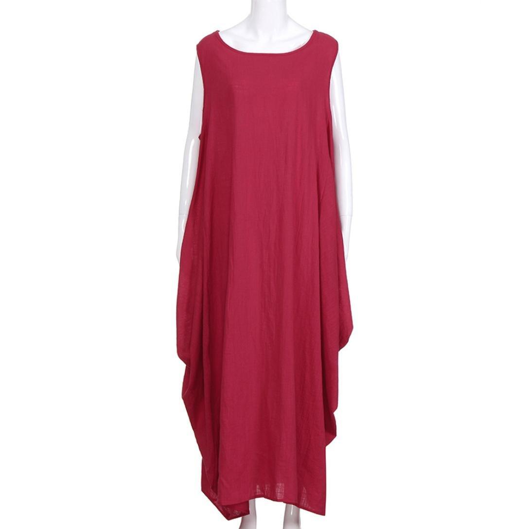 a9b415368fe ZYooh Women Vintage Plus Size Long Maxi Dresses Casual Baggy Linen Boho  Dress Loose Vest Gown (Red