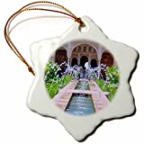 3dRose orn_112956_1 Water Fountains at Alhambra Palace Gardens in Grenada Spain Snowflake Porcelain Ornament, 3-Inch