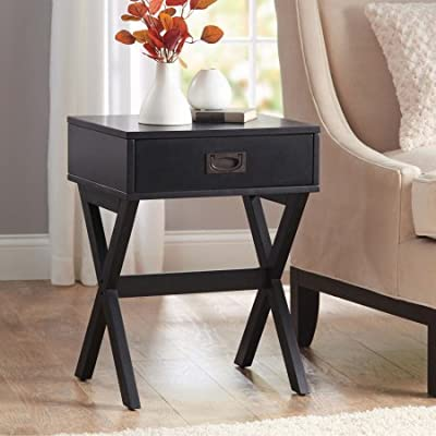 Modern & Stylish X-Leg One-Drawer Accent/ Side Table or Nightstand, 24-in (61cm) High (Black)