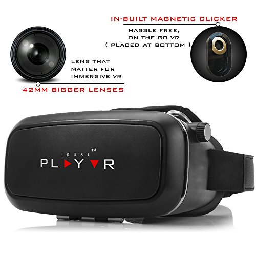 IRUSU PLAYVR – UPGRADED 42MM Fully Adjustable virtual reality lenses with Magnetic Clicker – The best VR headset with HD Resin lenses . VR glasses calibrated with leading mobile brands like Apple iphone 6 and plus, Samsung, Xiaomi,Lenovo,Oneplus,Moto, LG, nexus,Google Pixel,LeEco le2 and other mobiles with gyroscope.Experience 360 videos, 3D and VR games like never before.