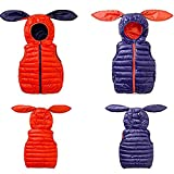 LSERVER Kids Boys Girls Winter Autumn Cute Puffer Rabbit Hooded Warm Artificial Cotton Vest Jacket Blue 2-8T