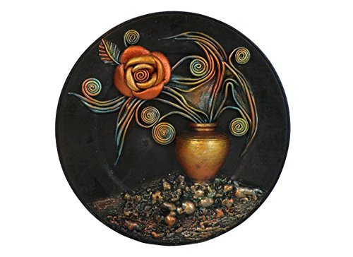 Hand Painted Wooden Plate, Hand Painted Ceramic Vase, Leather Rose, Leather Leaf, Unique Gift, 3D Wall Hanging, Leather Wall Art Decor, Acrylic Paints…