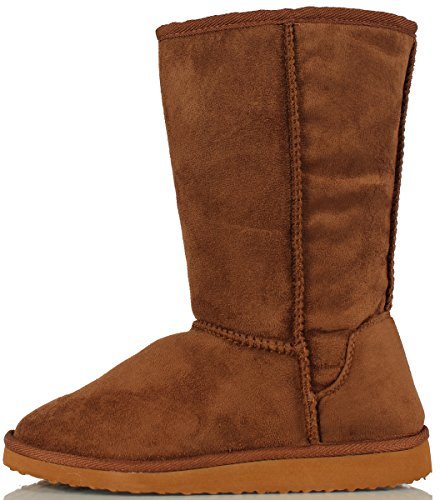 Soda Women's Oracle Lace-up Combat Folded Cuff Riding Mid-Calf Boots, Dark Tan, 6 M US