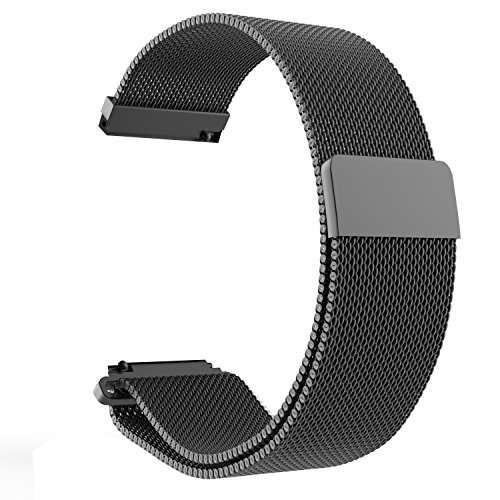 LoveBlue for Pebble time 22mm Magnetic Milanese Loop Stainless Steel Band Replacement Accessories for Pebble Time/Pebble Time Steel, Samsung Gear S3 Frontier/Classic(Milanese-Black)