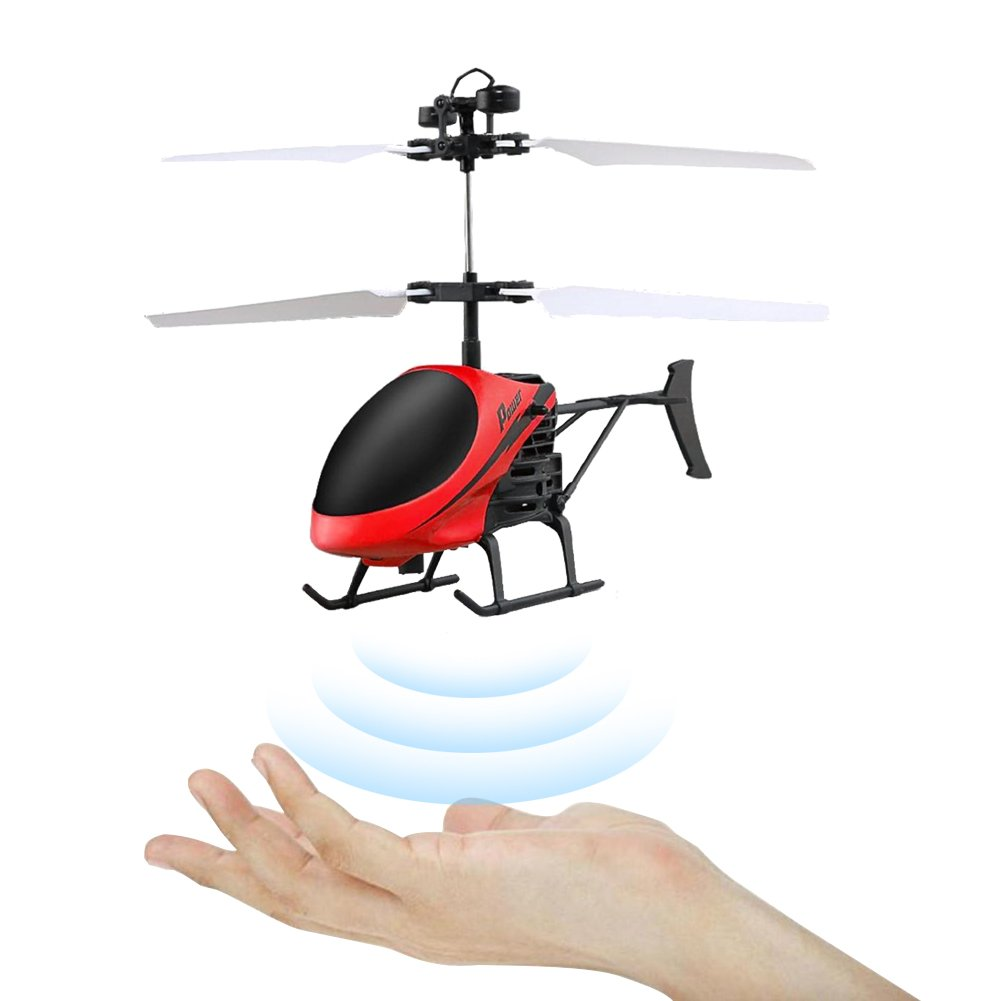 Aimik D-715 Flying Mini Infraed Induction Helicopter Aircraft Flash LED Light Toys Kid (Blue)