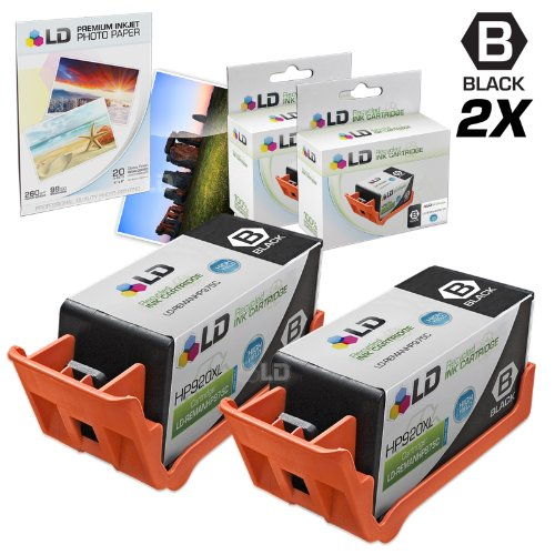 LD © Remanufactured Replacement for HP 920XL / 920 (CD975AN) Black Ink Cartridges 2PK for OfficeJet 6000, 6500, 7000 & 7500a + FREE 4X6 Photo Paper
