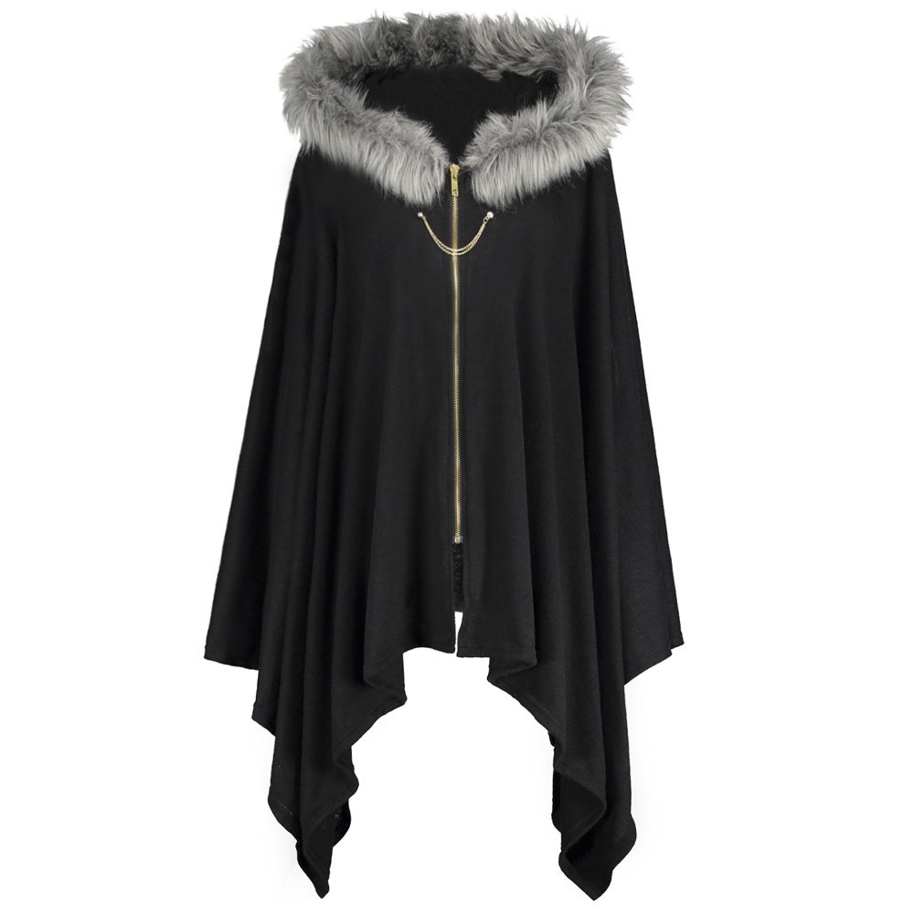 DEZZAL Women's Plus Size Faux Fur Insert Zip up Asymmetrical Hooded Cape Coat (Black, XL)