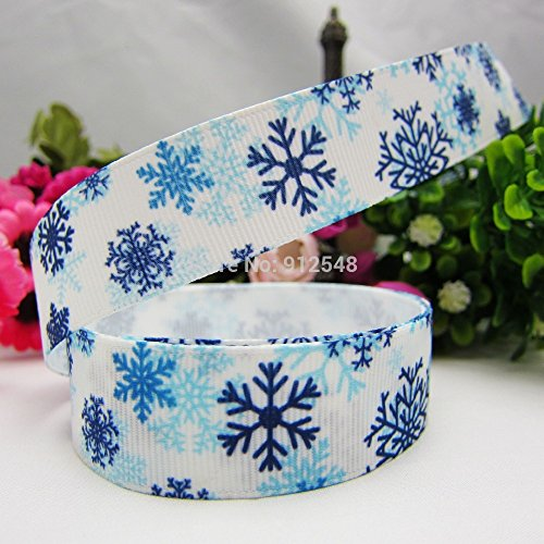 FunnyCraft 10 Yards 22Mm Christmas Snowflake Series Printed Grosgrain Ribbon Diy Handmade Materials Headwear Accessories ()