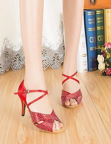 ShangYi Chaussures de danse ( Autre ) - Non Personnalisables - Talon Aiguille - Cuir / Cuir Verni - Latine / Jazz Red