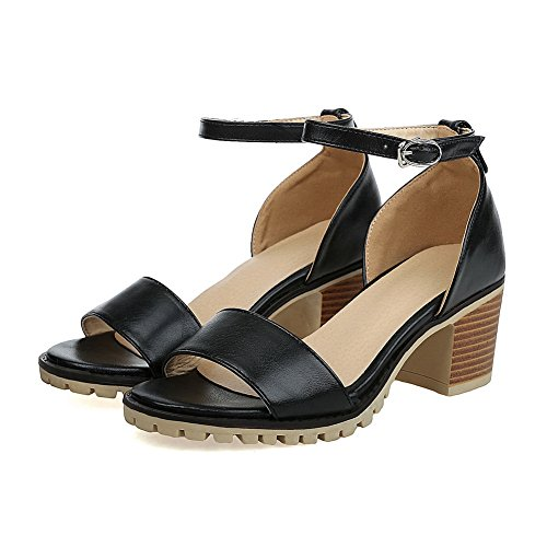 Huarache Peep ASL04455 Sandals Leather Sandals Toe Smooth Urethane Lining BalaMasa Black Womens Cold EpIwAA