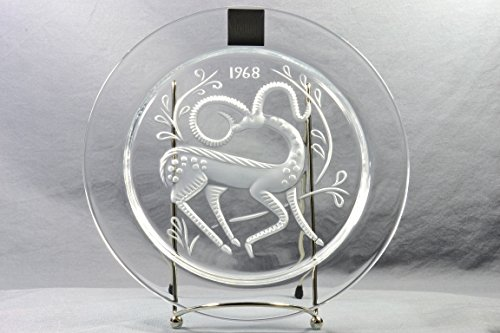 Lalique Crystal Annual Plate, 1968 Gazelle Fantaisie